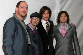 Musicians Dan Konopka (left to right), Tim Nordwind, Damian Kulash and Andy Ross of the band OK Go arrive at the EMI/Capitol Records Grammy party held at Boulevard3 on Feb. 11, 2007 in Hollywood.