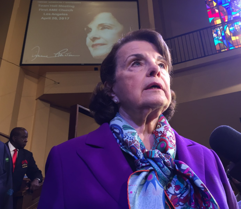 U.S. Sen. Dianne Feinstein takes questions from reporters after a town hall in South L.A.'s First AME Church.