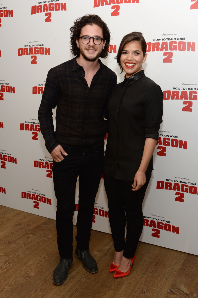 Actors Kit Harington and America Ferrera attend the DreamWorks Animation & 20th Century Fox screening of
