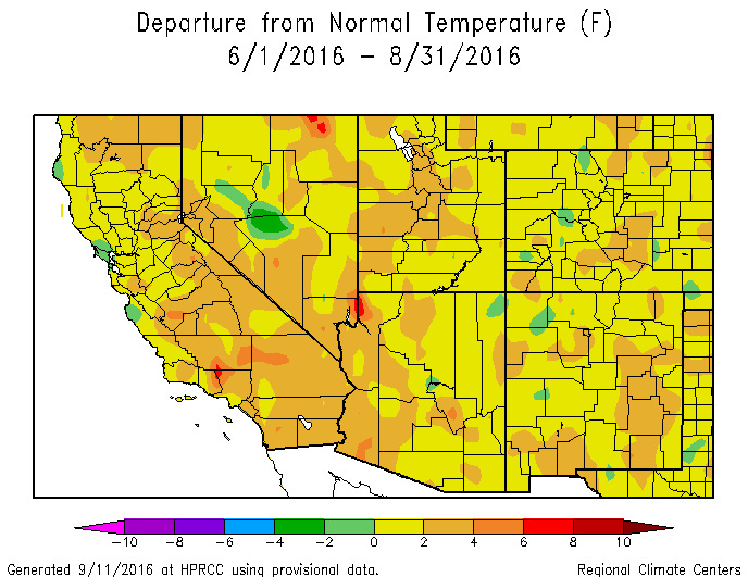 Deeper oranges and reds indicate abnormally hot areas, like Inland Southern California. The dark red blob at the corner of Kern, Ventura and Los Angeles Counties may be a reporting anomaly, however.