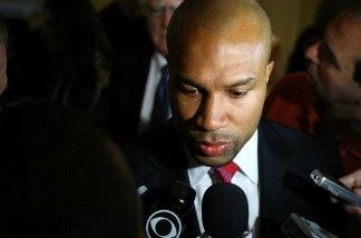 Derek Fisher of the Los Angeles Lakers speaks about the NBA labor negotiations as the deadline loomed on June 30, 2011 in New York City.