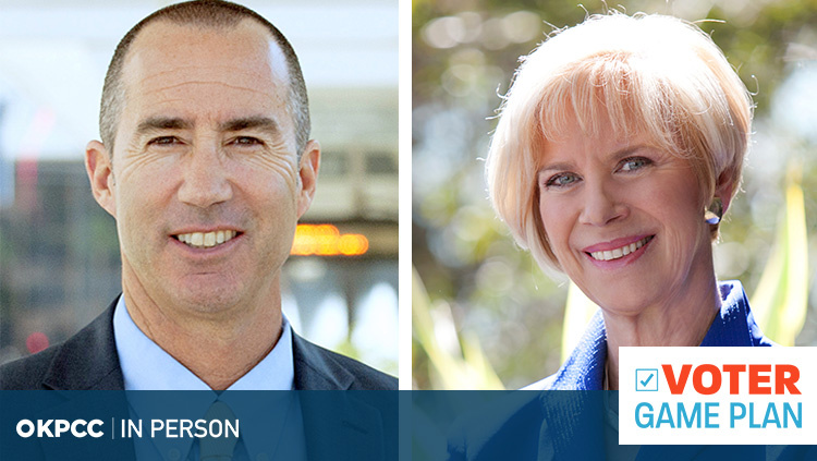 Steve Napolitano (L) and Janice Hahn (R) face each other in the non-partisan race to represent the fourth district on the powerful Los Angels County Board of Supervisors.