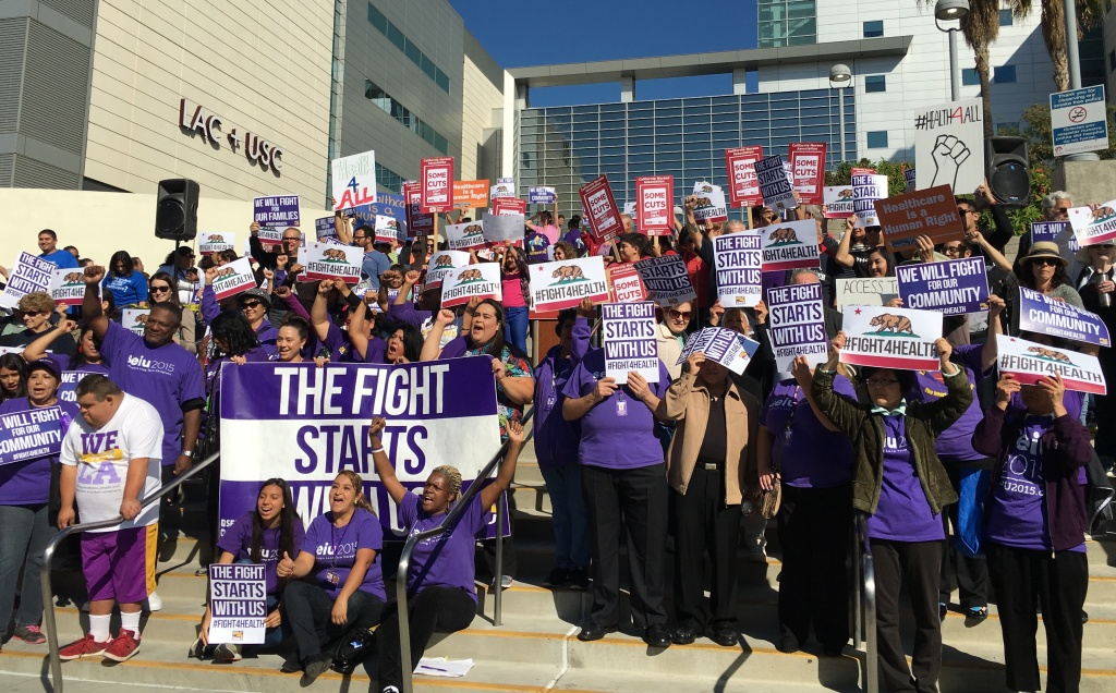 About 200 people gathered on the steps of LA County-USC hospital and pledged to do their part to preserve access to affordable health care.