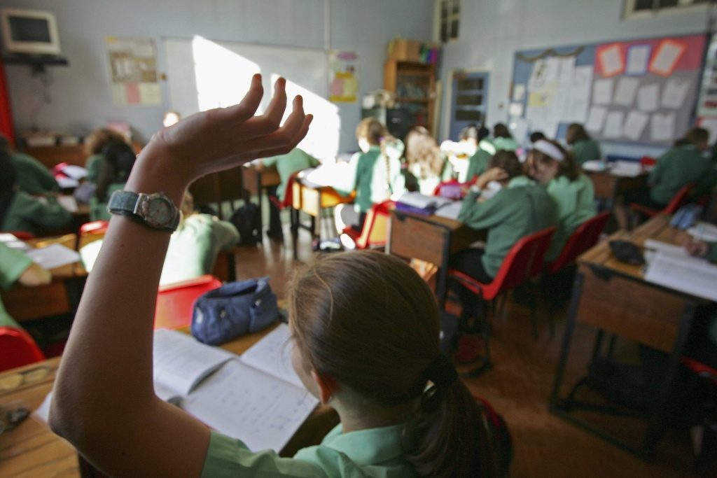 Pupils at at King Edward VI High School for Girls take part in a maths lesson on October 4, 2006, Birmingham, England.