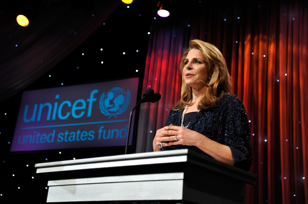Her Majesty Queen Noor of Jordan speaks on stage the 2011 UNICEF Ball. Queen Noor is visiting UC Irvine this weekend to speak and volunteer at a homeless shelter.