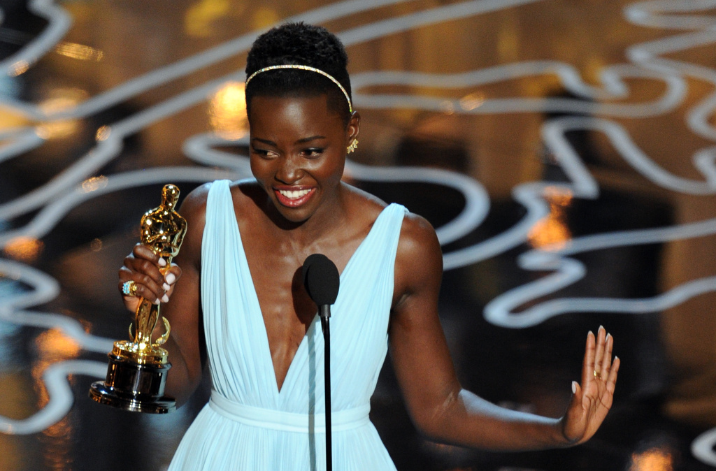 Lupita Nyong'o accepts the Oscar for actress in a supporting role for