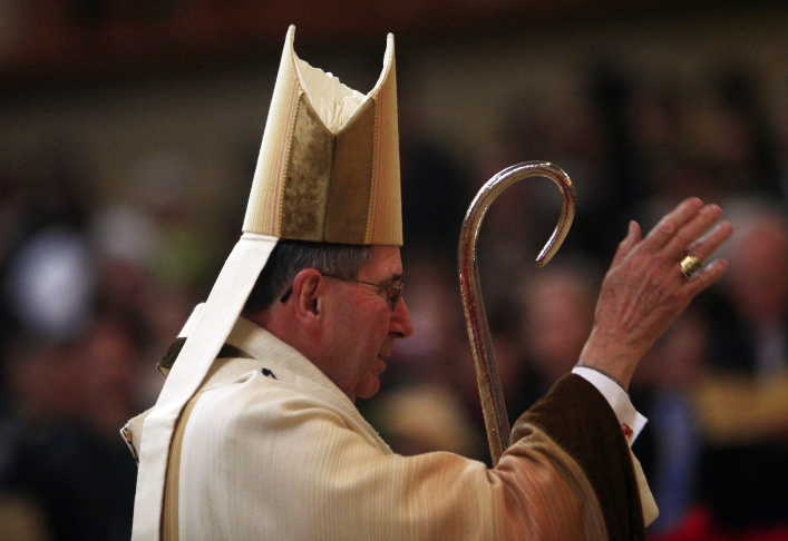 Cardinal Roger Mahony former archbishop of Los Angeles  (C) attends the concistory held by Pope Benedict XV at the Saint Peter's Basilica  on February 18, 2012 in Vatican City, Vatican.