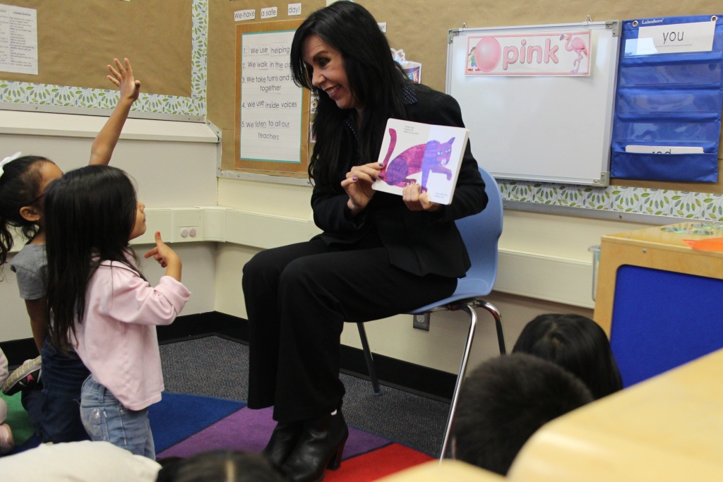 Assemblymember Blanca Rubio reads to preschoolers at Jeff Seymour Family Center in El Monte, after meeting with a roundtable of early educators to discuss her bill that aims to prevent preschool expulsions.