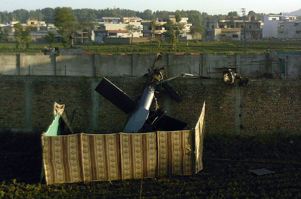 The wreckage of the helicopter that was downed in Osama bin Laden's compound shows features that suggest it was designed for stealth.