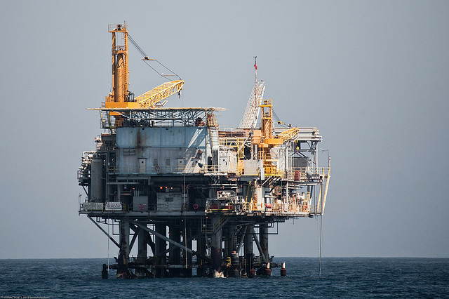 File photo: An oil drilling platform in the Santa Barbara Channel.