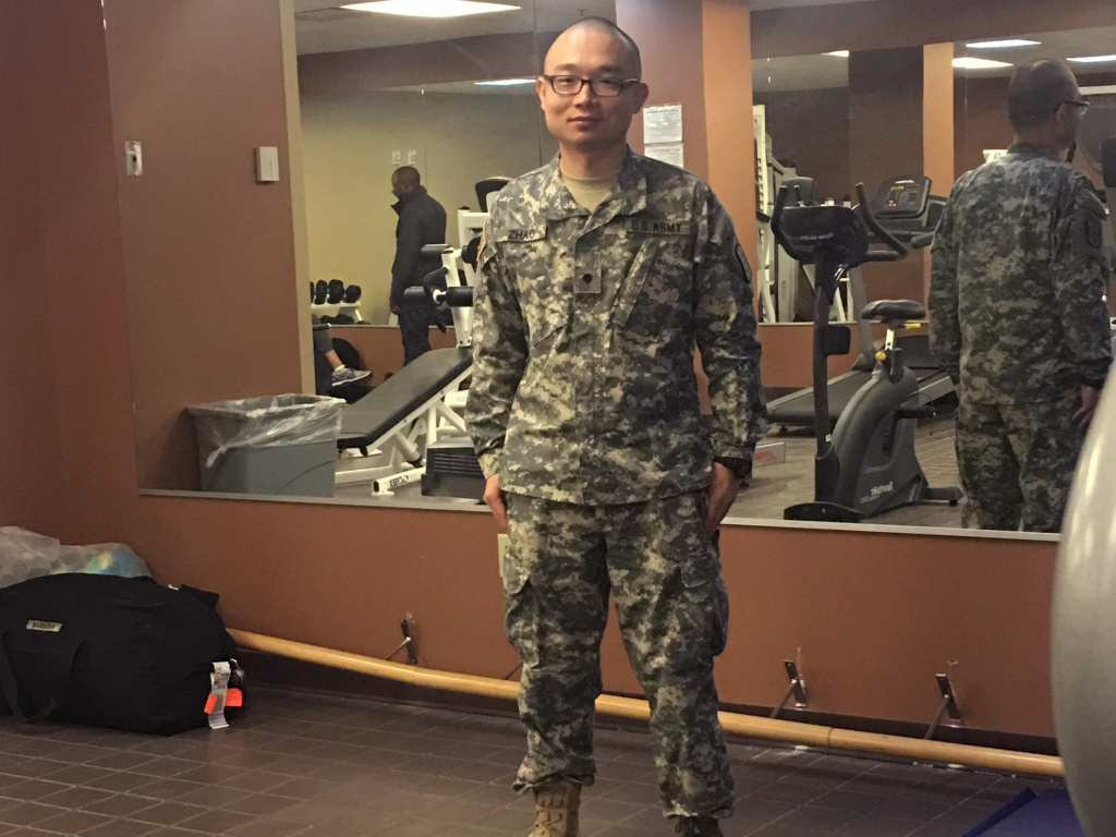 This photo provided to the AP by Panshu Zhao shows Zhao in uniform on Feb. 11, at a U.S. Army Reserve installation in Houston. Zhao is one of dozens of immigrant military recruits and reservists who have been waiting for years to deploy but were recently discharged with little explanation.