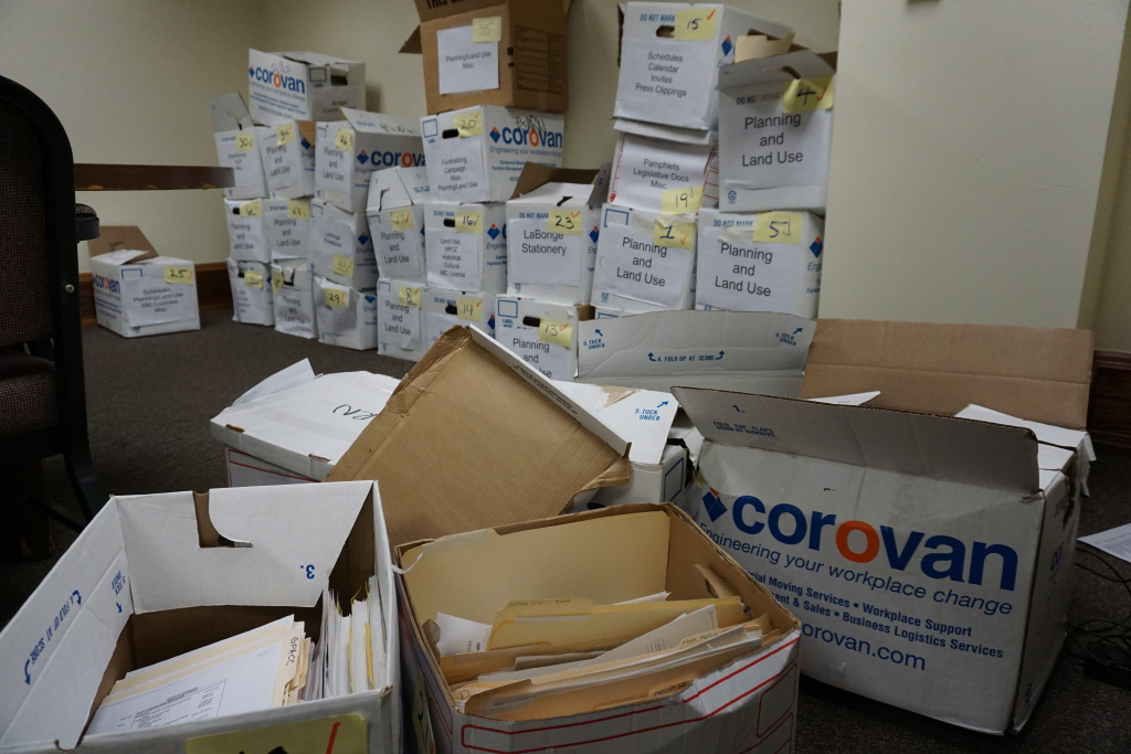 A photo of documents recovered from former City Councilman Tom LaBonge's office. The files were bound for the shredder.