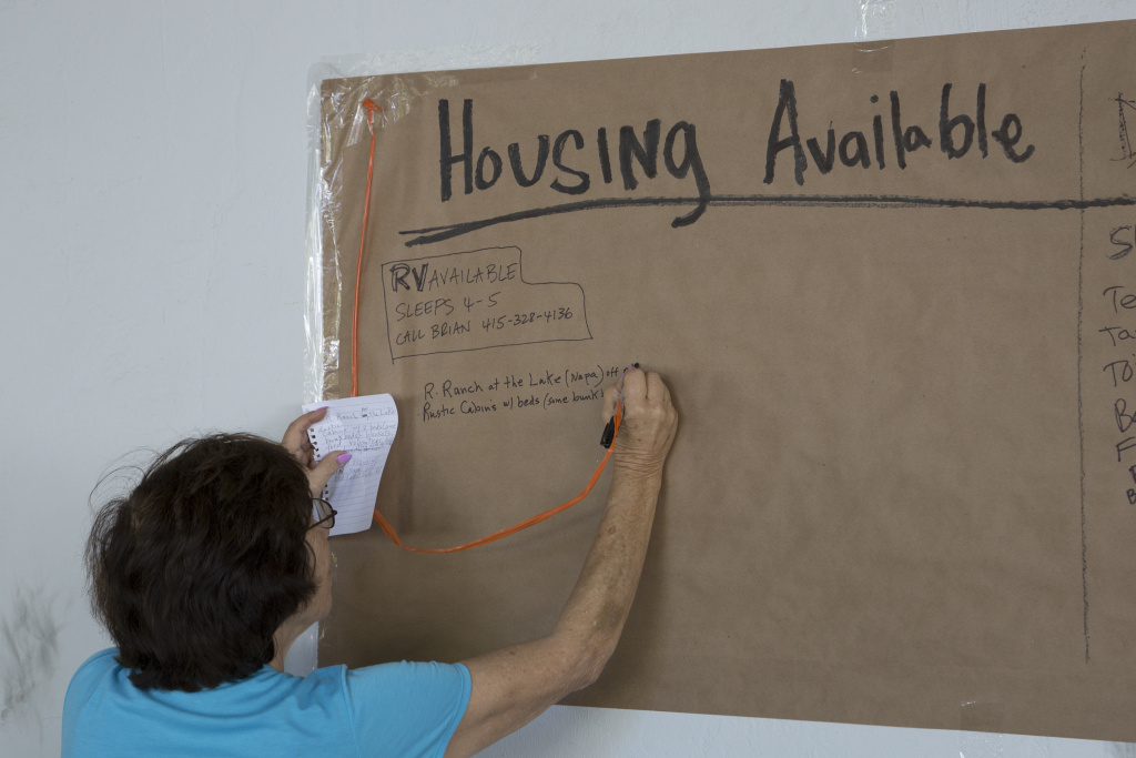 Available housing is posted at the Red Cross evacuation center for those displaced from their homes by the Valley Fire on September 15, 2015 in Calistoga, Calif.