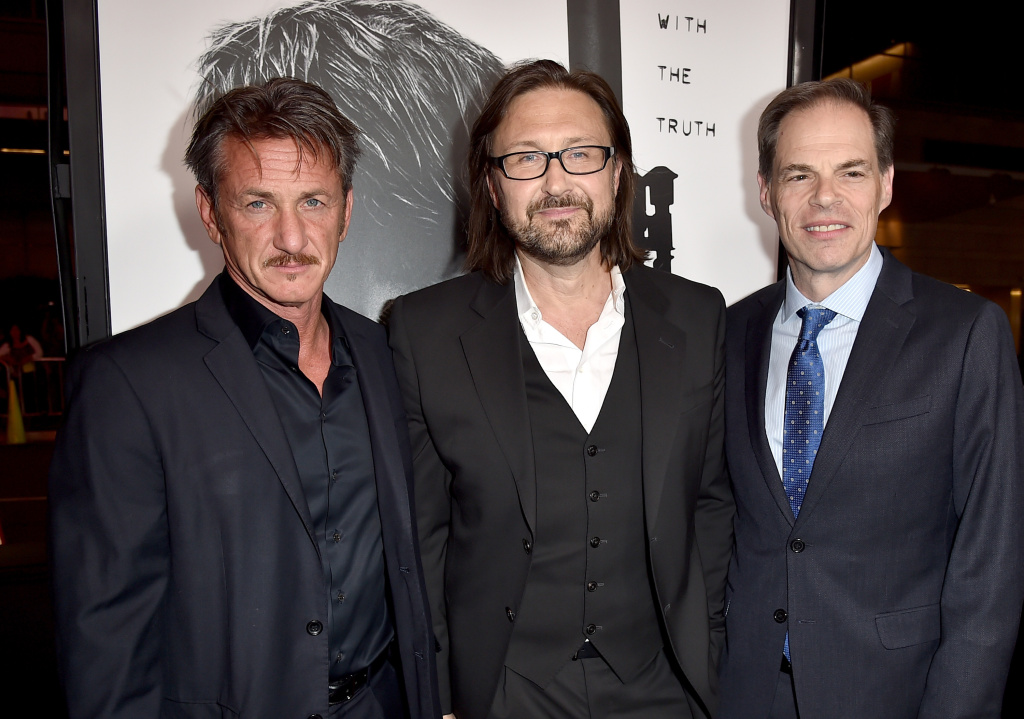 (L-R) Producer/actor Sean Penn, Director Pierre Morel and CEO of Open Road Films Tom Ortenberg attend the premiere of Open Road Films'