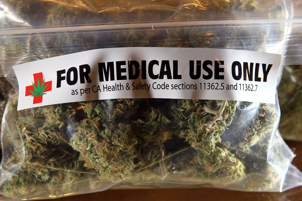 A one-ounce bag of medicinal marijuana is displayed at the Berkeley Patients Group in Berkeley, California.