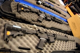 Semi-automatic assault style rifles on display at a gun show in Virginia.