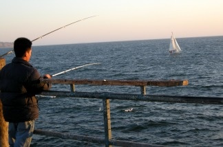 Locals fishing at Redondo Beach.