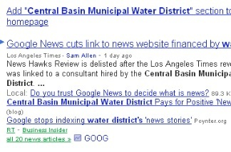 Screenshot of a Google News search of