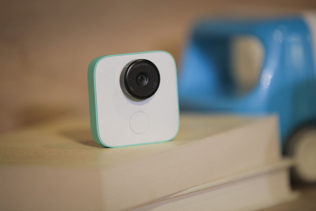 The new Google Clips wireless camera is seen  at a product launch event on October 4, 2017 at the SFJAZZ Center in San Francisco, California.