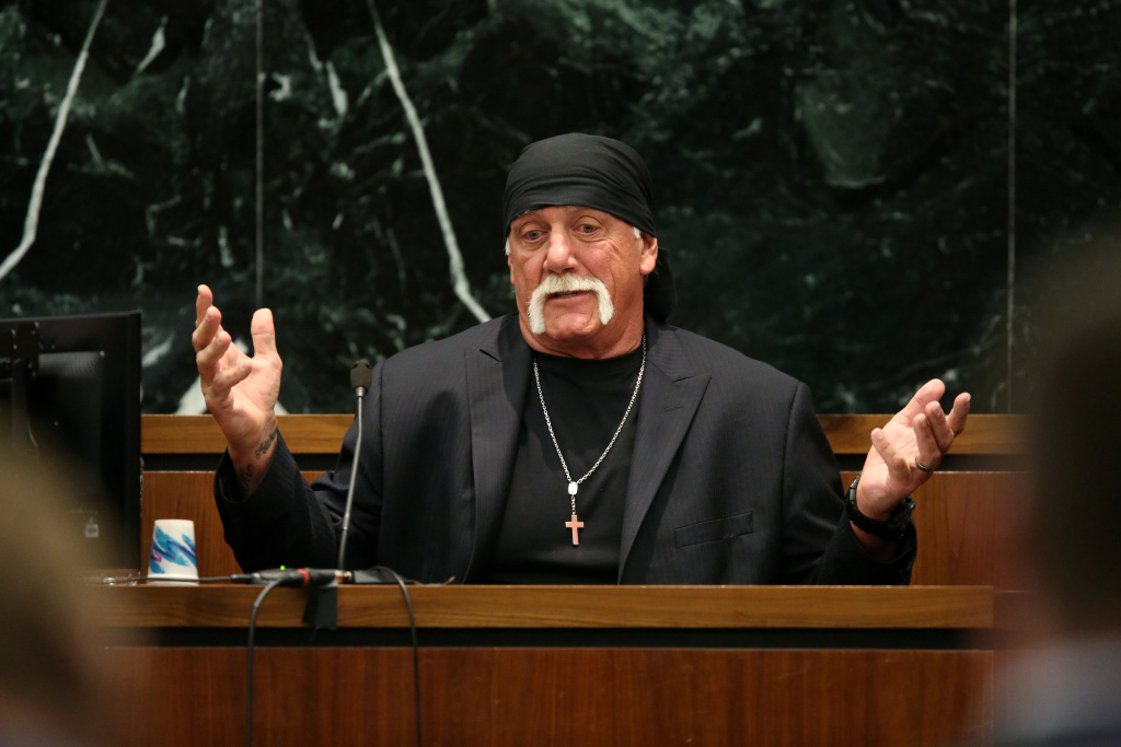 Terry Bollea, aka Hulk Hogan, testifies in court during his trial against Gawker Media at the Pinellas County Courthouse on March 8, 2016 in St Petersburg, Florida.