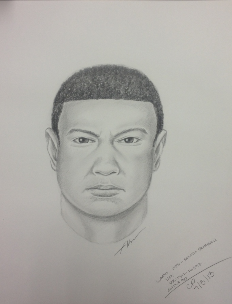 Composite sketch of possible suspect in a freeway shooting on the 110 Freeway in South Los Angeles in which a man was shot in the head.