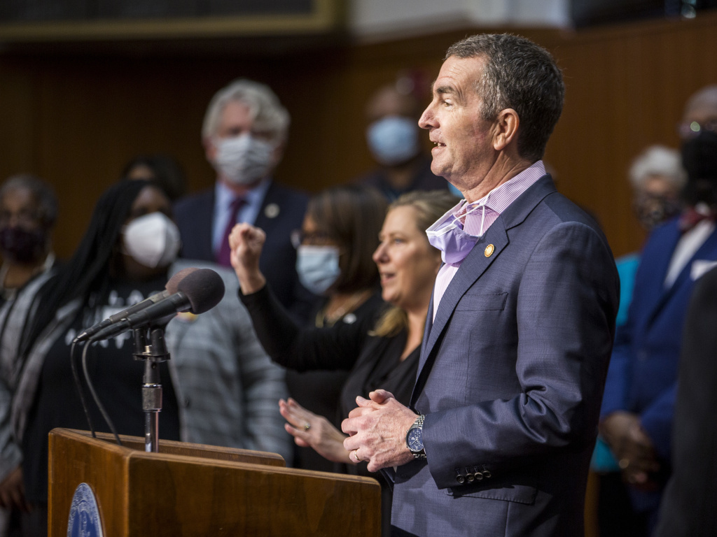 Virginia Gov. Ralph Northam speaks during a news conference on June 4, 2020 in Richmond. Last month, the governor wrote to the state's supreme court to request a moratorium on evictions.