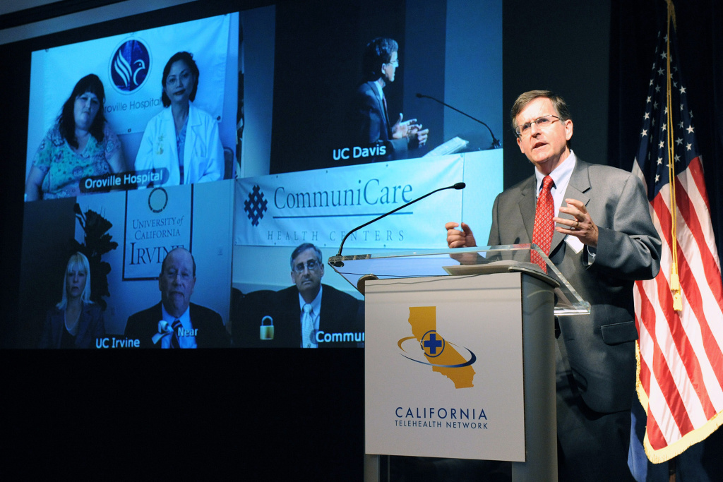 In this handout photo released by the California Telehealth Network (CTN) , Dr. Tom Nesbitt, Chancellor Strategic Technologies and Alliances,  University of California Davis Health System speaks during the launch of the California Telehealth Network August 17, 2010 in Sacramento, California. The system uses Broadband internet to connect healthcare providers with each other to diagnose and treat patients in rural and underserved communities throughout California. T