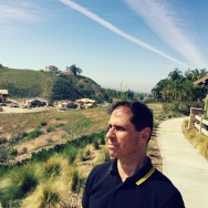 "NBC4 investigative reporter Joel Grover at ""The Woodlands,"" KB Homes' new housing development in Simi Valley, adjacent the Santa Susanna Nuclear Test Lab."