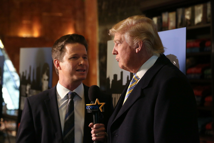 NEW YORK, NY - JANUARY 20:  Donald Trump (R) is interviewed by Billy Bush of Access Hollywood at