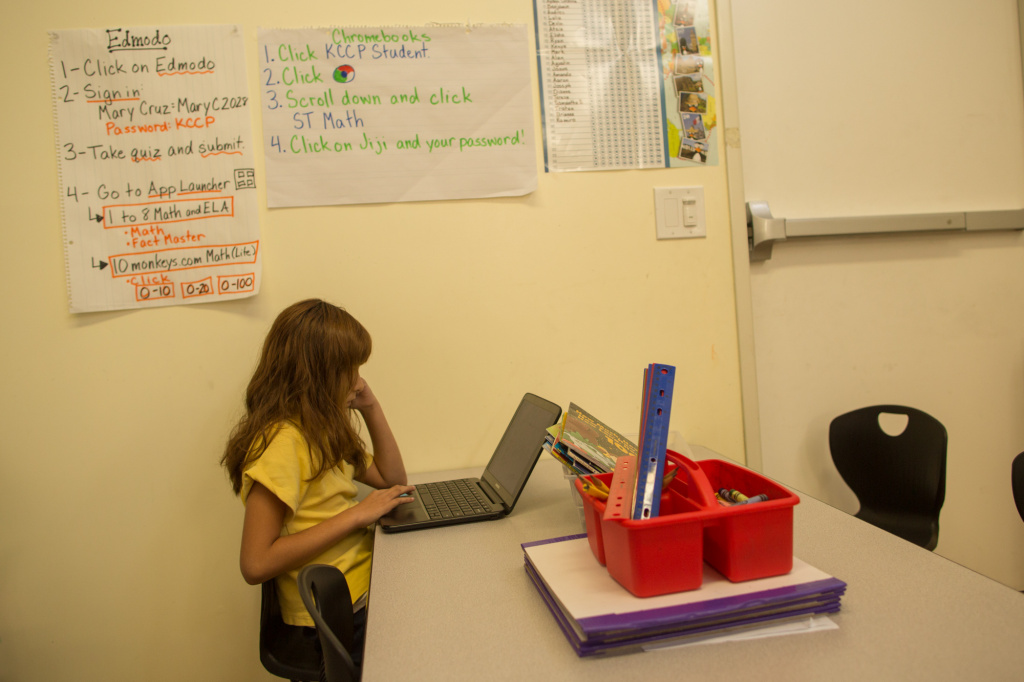 Samantha S. uses a Google Chromebook during tech time  at Comienza Community Prep in Huntington Park.