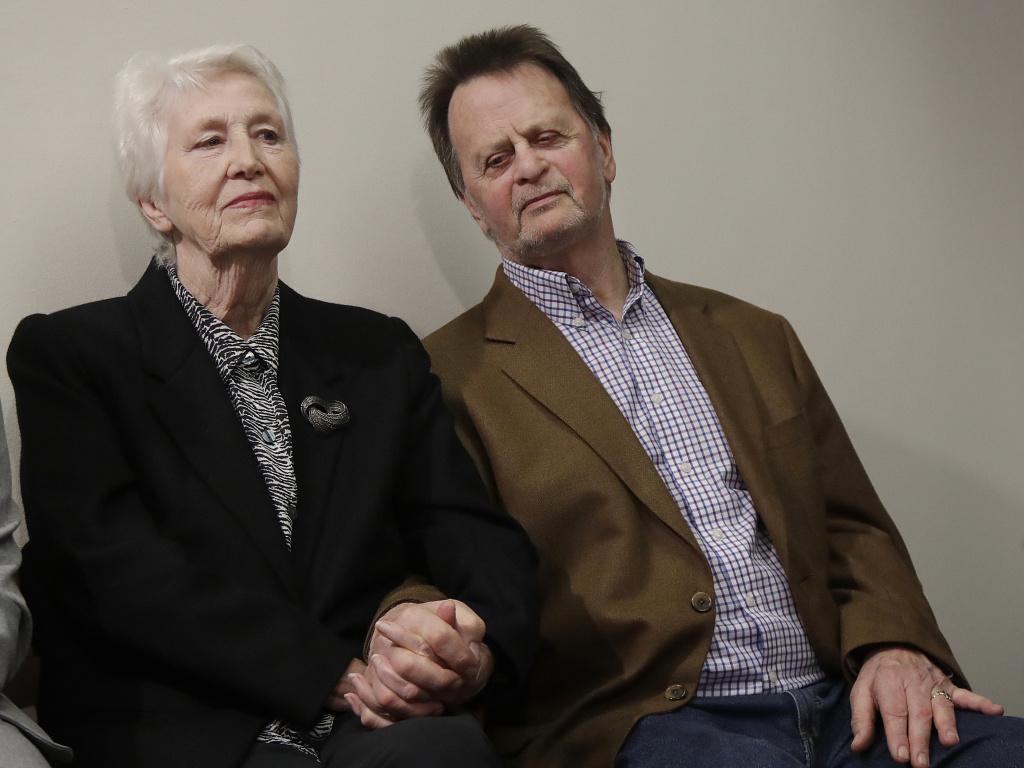 Edwin Hardeman sits with his wife, Mary, at a news conference after a San Francisco jury awarded him $80 million in damages over his claim that Roundup weedkiller caused his cancer.