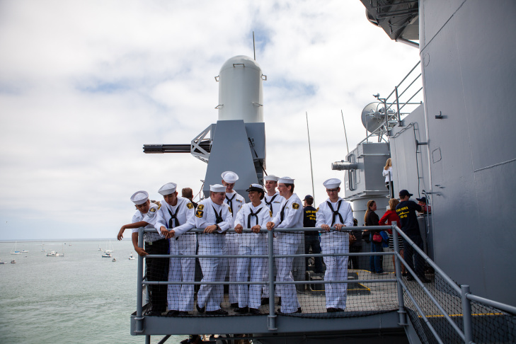 The USS Iowa berthed at its new permanent home in the Port of Los Angeles in San Pedro, Calif., in June. The decommissioned ship will now be a museum.