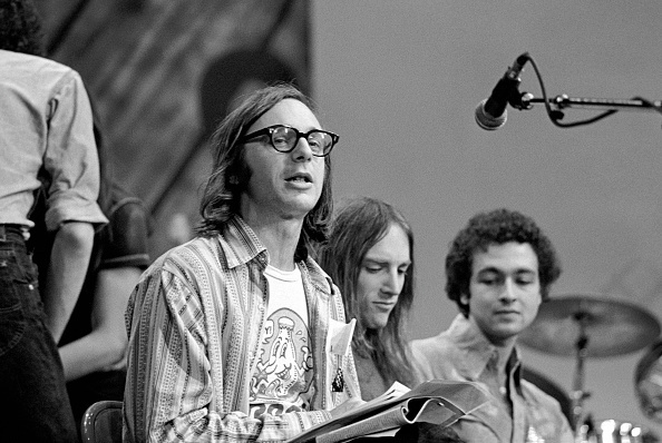 Music critic Robert Christgau (in glasses) at the 1978 Zu Festival in New York City.