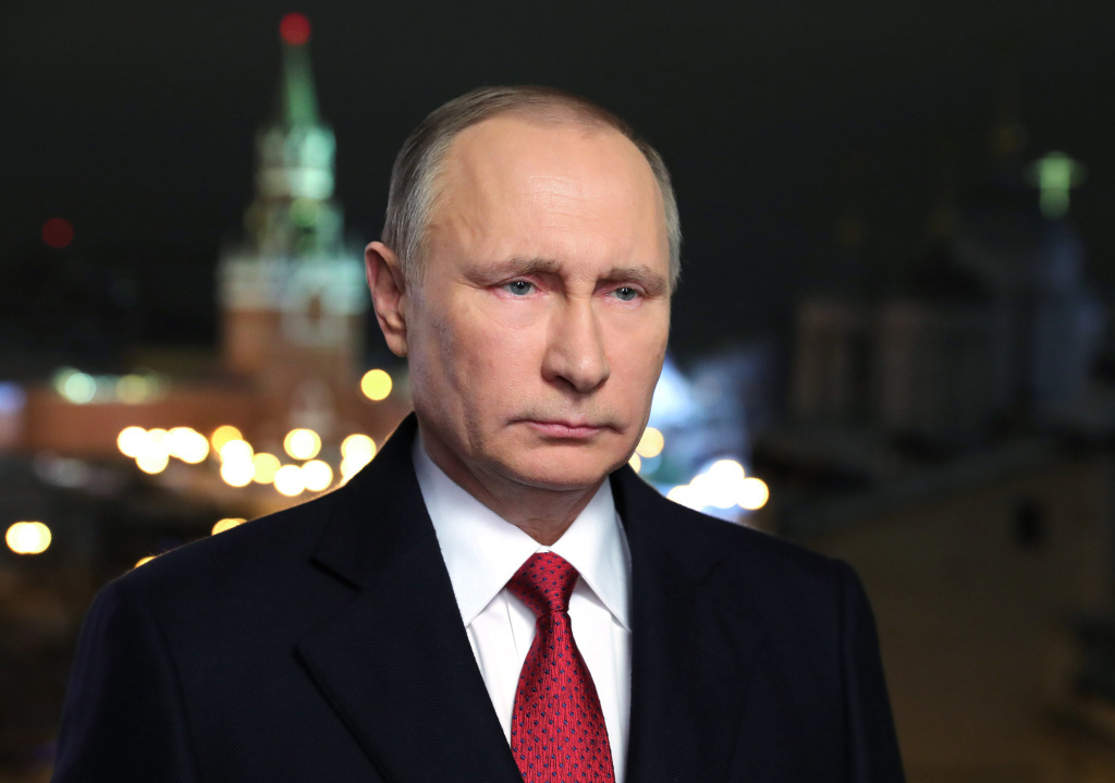 File: Russian President Vladimir Putin speaks during his annual televised New Year's message in the Kremlin in Moscow.