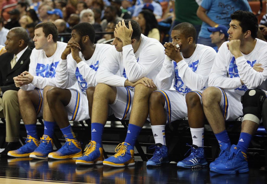 The UCLA Bruins bench watch the end of the game in their losing effort against the Minnesota Golden Gophers during the second round of the 2013 NCAA Men's Basketball Tournament at The Frank Erwin Center on March 22, 2013 in Austin, Texas.