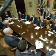 U.S. President Donald Trump meets with representatives from PhRMA, the Pharmaceutical Research and Manufacturers of America in the Roosevelt Room of the White House.
