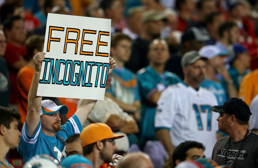 A Miami Dolphins fan holds a sign for Richie Incognito during a game against the Tampa Bay Buccaneers at Raymond James Stadium on November 11, 2013 in Tampa, Florida.