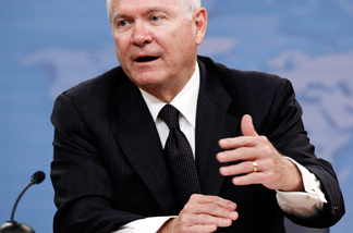 Secretary of Defense Robert Gates announces a plan to close a Joint Forces Command in Norfolk, Virginia, as part of his effort to strip billions from the Pentagon budget during a news conference at the Pentagon August 9, 2010 in Arlington, Virginia.