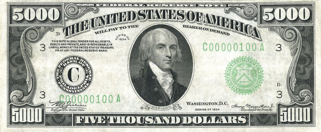 "James Madison, depicted on an out-of-circulation $5,000 bill, proposed a constitutional amendment that ""no law, varying the compensation for the services of the Senators and Representatives, shall take effect, until an election of Representatives shall have intervened."""