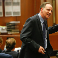 Prosecutor Max Huntsman delivers his closing arguments in the corruption trial of Angela Spaccia, the former city manager of Bell, Calif., in November. Huntsman's new challenge is to monitor the scandal-ridden LA County Sheriff's Department.