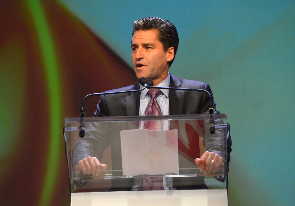In this file photo, Time Warner Cable chief executive Rob Marcus speaks onstage during the 2013 WICT Leadership Conference at the New York Marriott on October 7, 2013 in New York City. Marcus is one of several departing executives who are in line to receive
