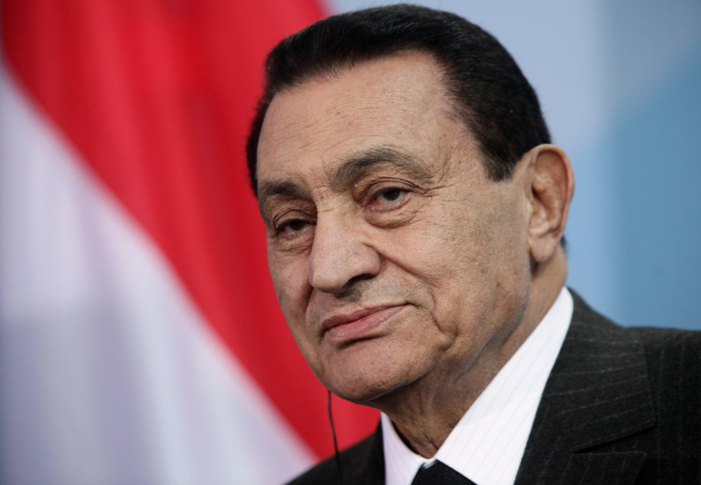 Then-Egyptian President Hosni Mubarak on March 4, 2010 in Berlin, Germany. Mubarak reportedly suffered a stroke and was moved to a military hospital.
