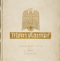 A deluxe edition of Hitler's Mein Kampf was among the other artifacts seized by Patton's troops. In a handwritten inscription on the cover, Patton presents it to The Huntington.