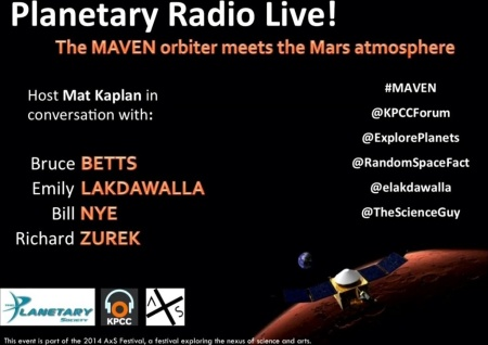 Planetary Radio Live: MAVEN orbiter meets the Mars atmosphere