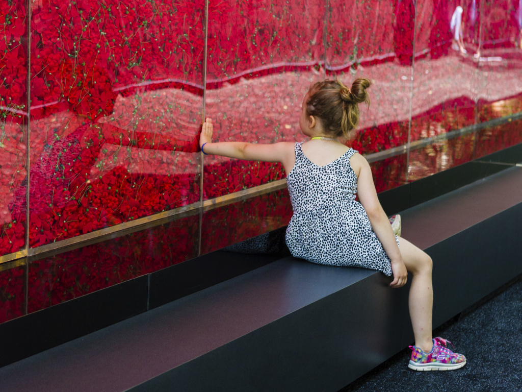 A girl visits The Poppy Memorial, a wall of 645,000 poppy flowers to honor the service members who have died since World War I. The USAA made the memorial that stands on the National Mall.