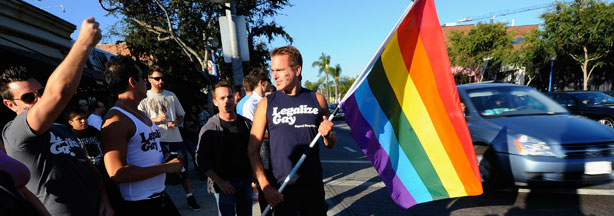 Prop 8 opponents celebrate the ruling to overturn Proposition 8 on August 4, 2010 in West Hollywood.