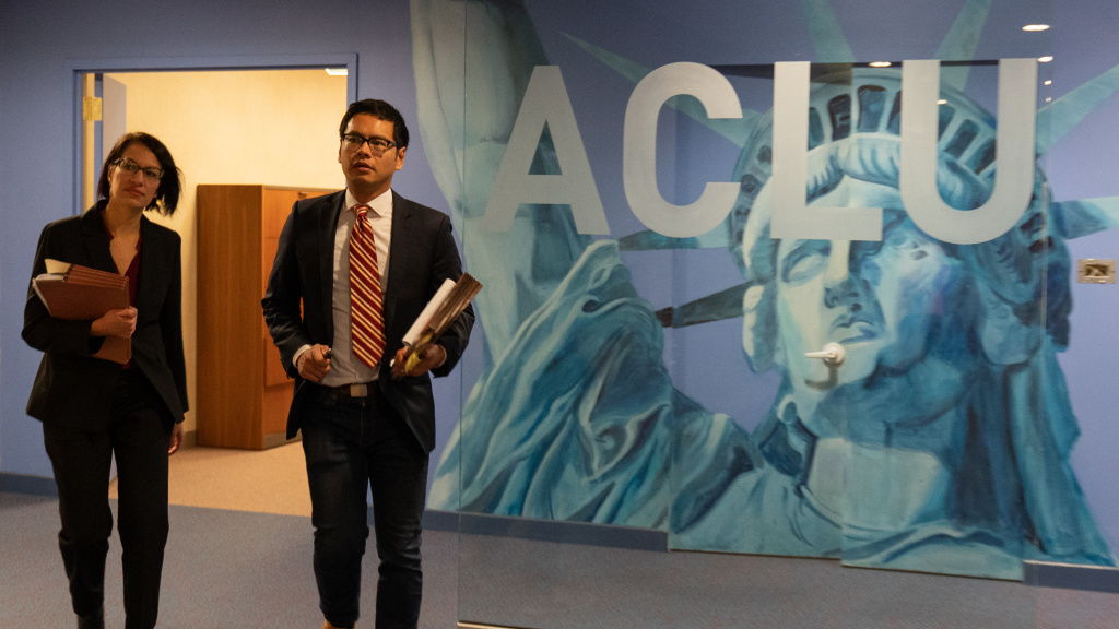 ACLU attorneys Brigitte Amiri and Dale Ho in