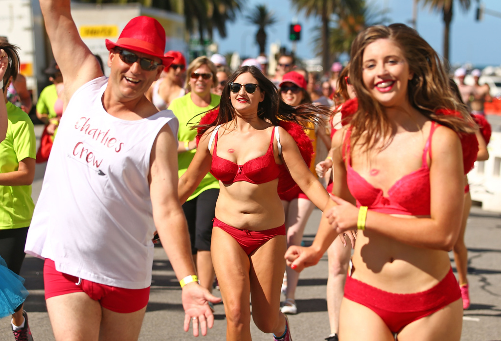 Athletes compete in their underwear in Cupids Undie Run in Melbourne, Australia on February 14, 2016.