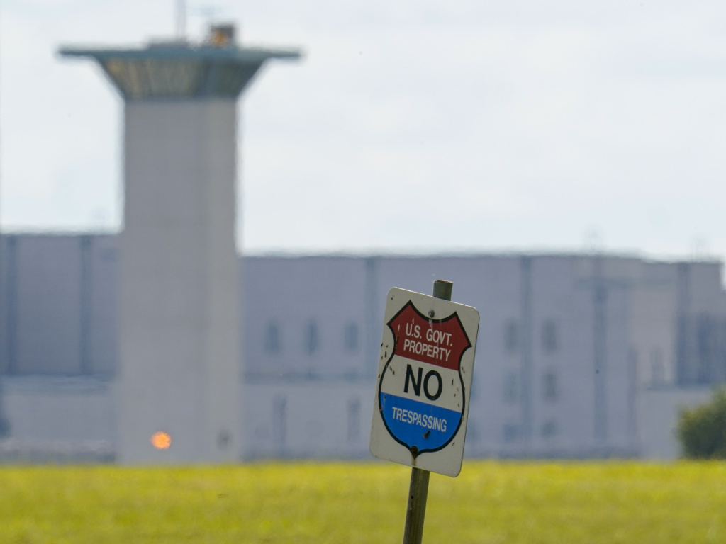 The federal prison complex in Terre Haute, Ind., is pictured in August 2020. All federal prisons in the United States have been placed on lockdown. Law enforcement agencies are taking measures in the aftermath of Jan. 6 insurrection and over concerns of more violence.