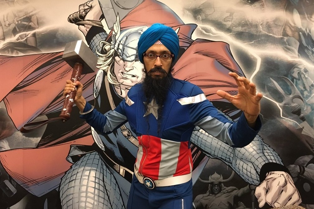 Cartoonist Vishavjit Singh, who's known as the Sikh Captain America.